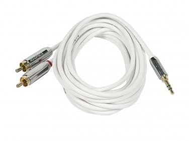 6ft Designed for Mobile 3.5mm Stereo Male to RCA Stereo Male (Gold Plated) - White