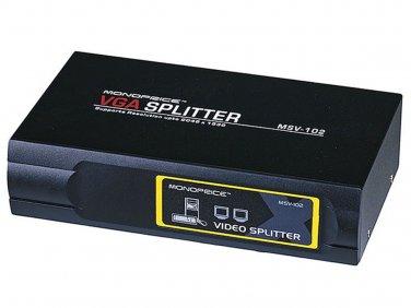 2-Way SVGA VGA Splitter Amplifier Multiplier 400 MHz - Black