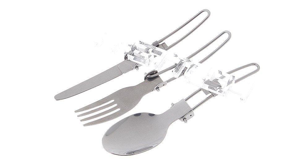 3-in-1 Stainless Steel Knife + Fork + Spoon Tableware Set (3-Piece)