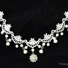 Women's Floral Lace Crystal Beads Necklace Hair Band - 5665700