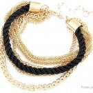 Women's Fashion Multilayer Gold Chain Braided Rope Bracelet - 5666001