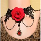 Women's Red Flower Beads Lace Choker Collar Necklace - 5666201