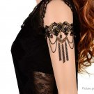 Women's Gothic Retro Black Lace Arm Chain Tassels Stone Bracelet - 5650900