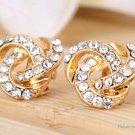 Multi-layer Crystal Beads Clip-on Ear Stud Earrings (Pair) - 5687301