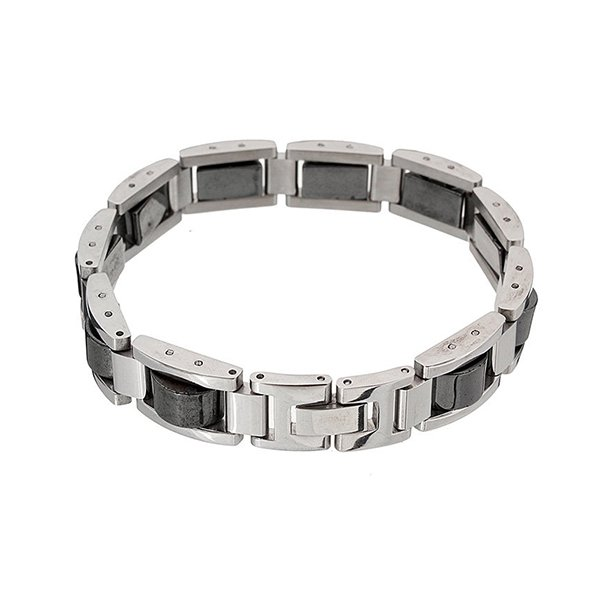 Men's Titanium Hematite Magnetic Pain Relief Therapy Health Bracelet - 6735500