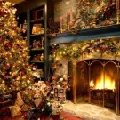 Fireplace Christmas Ornaments Home 24x18 Print POSTER