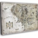 The Lord Of The Rings Middle Earth Map Art 40x30 Framed Canvas Print