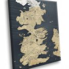 Seven Kingdoms Of Westeros Map Game Of Thrones 50x40 Framed Canvas Print
