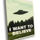I Want To Believe UFO Fox Mulder X Files 30x20 Framed Canvas Print