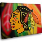 Chicago Blackhawks Logo Ice Hockey Sport 50x40 Framed Canvas Art Print
