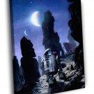 R2 D2 Tatooine Jawas Sandcrawler Star Wars Art 30x20 Framed Canvas Print