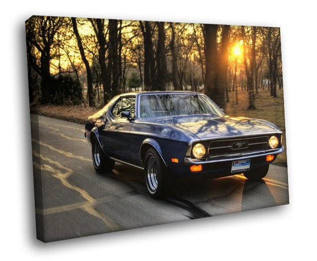 Ford Mustang Classic Car Road Forest Dawn 50x40 Framed Canvas Art Print