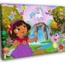 Dora The Explorer Unicorn Cartoon Beautiful 40x30 Framed Canvas Print