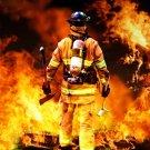 Firefighter Hero Fireman Flames Axe 24x18 Wall Print POSTER