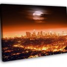 Los Angeles Skyline Full Moon Night City LA 40x30 Framed Canvas Print