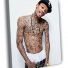 Wiz Khalifa Tattoos Shirtless Rap Hip Hop 30x20 Framed Canvas Print
