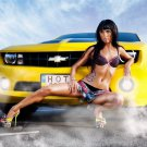 Chevrolet Chevy Sport Car Sexy Girl Hot Brunette 16x12 Print Poster