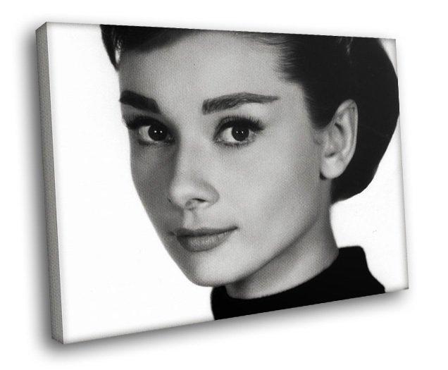 Style Icon Audrey Hepburn Actress Beautiful Eyes 50x40 Framed Canvas Art Print
