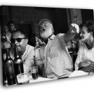 Ernest Hemingway Writer Table Drink BW 50x40 Framed Canvas Print