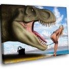 Dinosaur Amazing Blonde Pin Up Beach Bikini Fanny 40x30 Framed Canvas Art Print