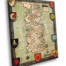 Seven Kingdoms Of Westeros Map Game Of Thrones 40x30 Framed Canvas Print
