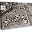 Women Boxing Roof 1930s Rare Old Retro BW 50x40 Framed Canvas Print