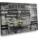 France Paris Park Cafe Black White 30x20 Framed Canvas Art Print