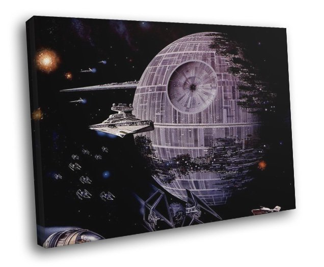 Imperial Death Star Destroyer TIE Star Wars 40x30 Framed Canvas Print
