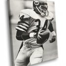 Walter Payton Chicago Bears Classic BW Football 40x30 Framed Canvas Print