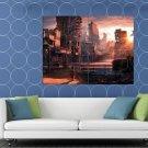 Post Apocalyptic Dystopian City Ruins Kid Sci Fi Art HUGE 48x36 Print POSTER