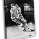 Gordie Howe Classic Retro BW Hockey Sport 50x40 Framed Canvas Print
