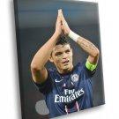 Thiago Silva Paris Saint Germain Brazil Football 40x30 Framed Canvas Print