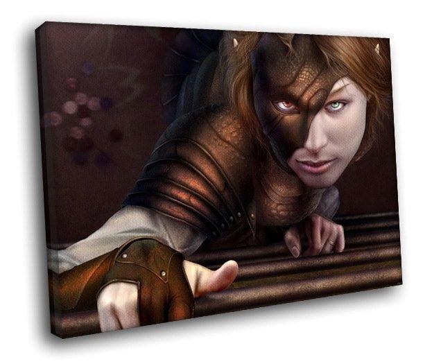 Fantasy Girl Evil Mask 30x20 Framed Canvas Art Print