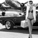Jacket Challenger Sexy Babe Car Miss Tuning BW 24x18 Print Poster