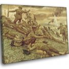 Invasion Of Normandy D Day Battle WW2 Painting 50x40 Framed Canvas Print