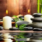 SPA Black Stones Water Bamboo Candles Stone Therapy 24x18 POSTER