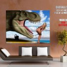 Dinosaur Amazing Blonde Pin Up Beach Bikini Fanny Giant Huge Print Poster