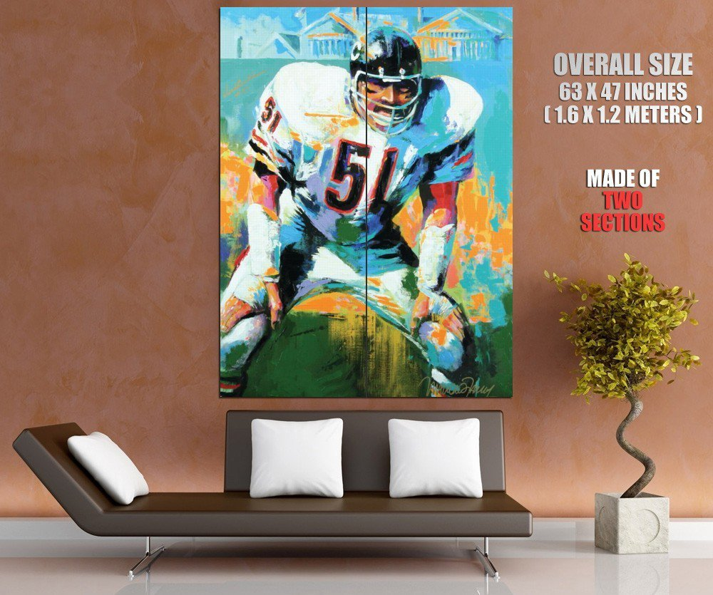 Richard Marvin Dick Butkus Chicago Bears Painting Giant Huge Print Poster