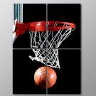 Basketball Court Hoop Board Sport 30x20 Framed Canvas Art Print