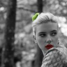 Scarlett Johansson Actress Fashion Model BW Red Lipstick 24x18 POSTER