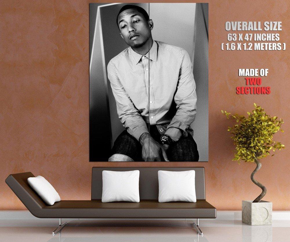 Pharrell Williams Amazing BW Portrait Shirt Handsome GIANT Huge Print Poster