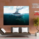 Giant Whale Sea Volcano Fantasy Art Animal Nature GIANT Huge Print Poster