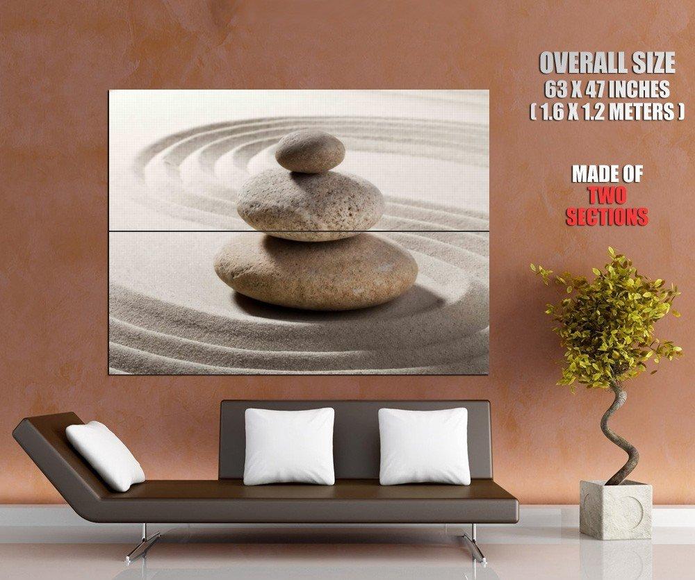 Zen Stones White Sand Giant Huge Wall Print Poster
