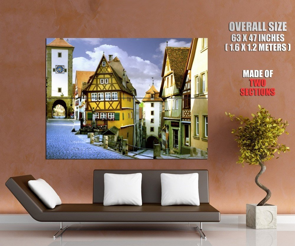 Germany Bavaria Rothenburg Medieval Old Town Giant Huge Wall Print Poster