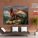 Fantasy Red Dragon Rocks Giant Huge Wall Print Poster
