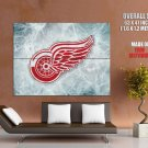 Detroit Red Wings Logo Ice Hockey Sport Giant Huge Print Poster
