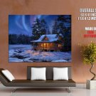 Evening Country House Winter Aurora Snow Painting Giant Huge Print Poster