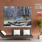Snow Forest Deers Animal Landscape Oil Painting Giant Huge Print Poster