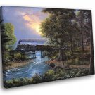 Train Bridge Sunset Forest Landscape Painting 50x40 Framed Canvas Print