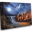 Amazing Painting Art Wildfire Forest Mountain 50x40 Framed Canvas Print